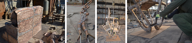 welding of the casted bronze sculptures