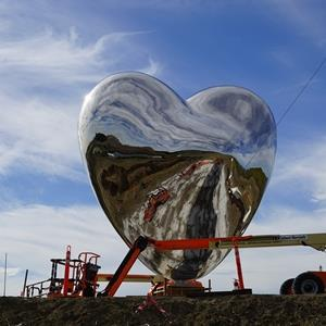 Sky Mirror Polished Stainless Steel Heart Sculpture