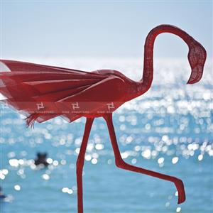 Red Flamingo,Stainless steel wired mesh sculpture